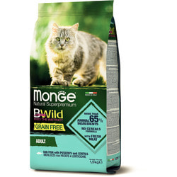Сухой корм Monge BWild Cat GRAIN FREE беззерновой корм из трески, картофеля и чечевицы для взрослых кошек