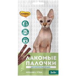 Мнямс Лакомые палочки для кошек с уткой и кроликом 13,5см