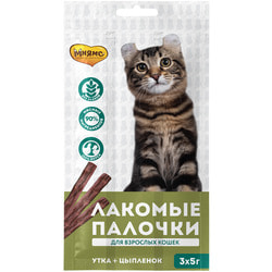 Мнямс Лакомые палочки для кошек с цыпленком и уткой 13,5см