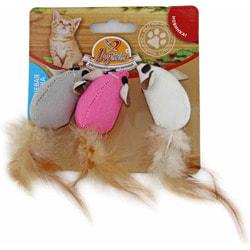DOGMAN Мышка тканевая с кошачьей мятой и пером
