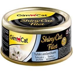Консервы Gimpet ShinyCat Filet для кошек из тунца с анчоусами в бульоне
