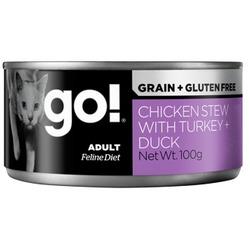 Go! Natural Holistic Консервы беззерновые с тушеной курицей, индейкой и мясом утки для кошек, паштет, Grain Free Chicken Stew with Turkey + Duck
