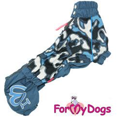 ForMyDogs Дождевик для такс Камуфляж синий, модель для мальчиков