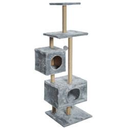 Smartpet Игровой комплекс для кошек с двумя домиками Высокий серый