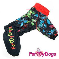 ForMyDogs Дождевик для крупных собак черно-красный на девочку