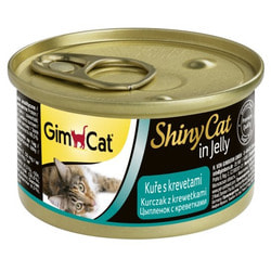 Консервы GimCat ShinyCat для кошек Цыпленок с Креветками в желе