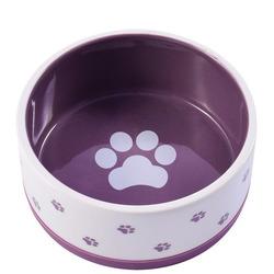 КерамикАрт Миска керамическая нескользящая для собак белая с фиолетовым