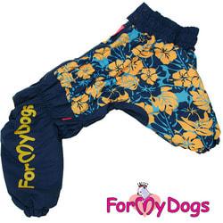 ForMyDogs Комбинезон для больших собак Цветы синий на девочку