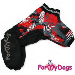 ForMyDogs Теплый комбинезон для больших собак Листья черно/красный на девочку