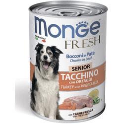 Monge Dog Fresh Chunks in Loaf консервы для пожилых собак мясной рулет с индейкой и овощами