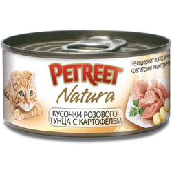 Petreet Консервы для кошек Кусочки розового тунца с картофелем