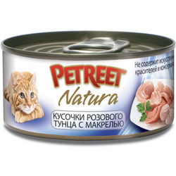 Petreet Консервы для кошек Кусочки розового тунца с макрелью