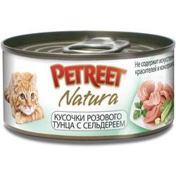 Petreet Консервы для кошек Кусочки розового тунца с сельдереем
