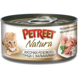 Petreet Консервы для кошек Кусочки розового тунца с кальмарами