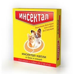 Экопром Инсектал Капли для кошек и собак 2-4кг от блох и клещей