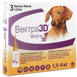 Vectra 3D Капли для собак 1,5-4кг инсектоакарицидные