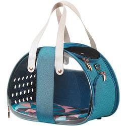Ibiyaya Складная сумка-переноска для собак и кошек до 6 кг прозрачная/бирюзовая