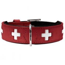 Hunter Ошейник для собак Swiss кожа красный/черный