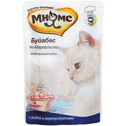 Мнямс Паучи для кошек Блюда Высокой Кухни Буйабес по-Марсельски рыба с морепродуктами