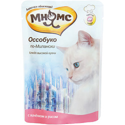Мнямс Паучи для кошек Блюда Высокой Кухни Оссобуко по-Милански ягненок с рисом