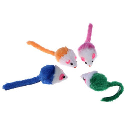 Антицарапки Мышь-погремушка для кошек меховая Яркая