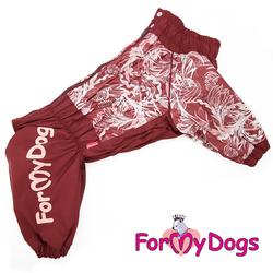 ForMyDogs Дождевик для крупных собак Бордо с орнаментом на девочку