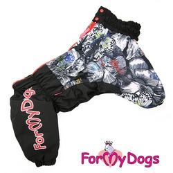 ForMyDogs Теплый комбинезон для больших собак Бабочки, черный, на девочку