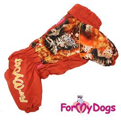 ForMyDogs Теплый комбинезон для крупных собак Тигр коричневый девочка