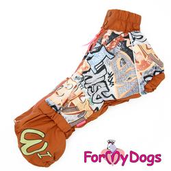ForMyDogs Дождевик для таксы Граффити коричневый для мальчика